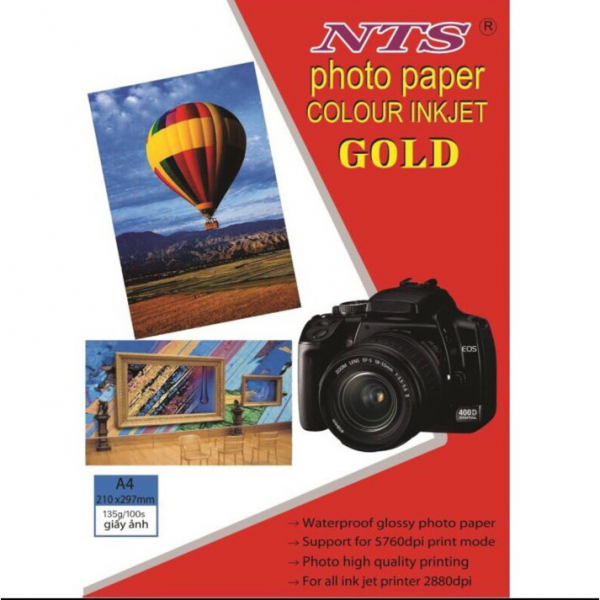 GIẤY IN ẢNH GOLD NTS A4 1 MẶT 115GSM